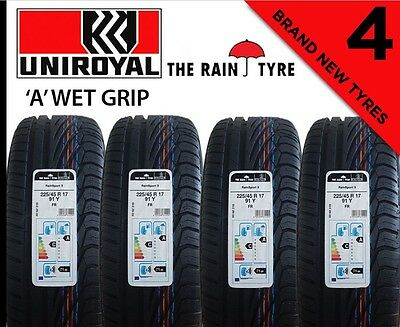 """4X  225/45R17  91V Uniroyal Rainsport 3 """"A"""" wet grip New Tyre  In Liverpool"""