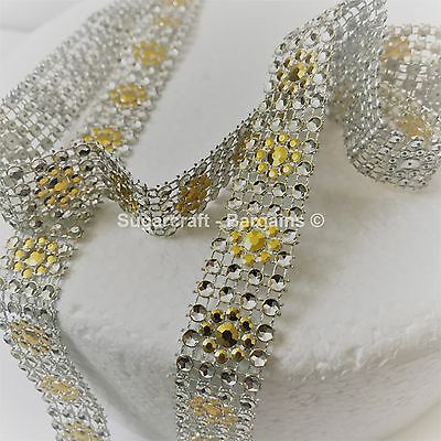 BLING RIBBON SPARKLY Cake decorating Card craft mesh mesh GOLD DAISY NEW