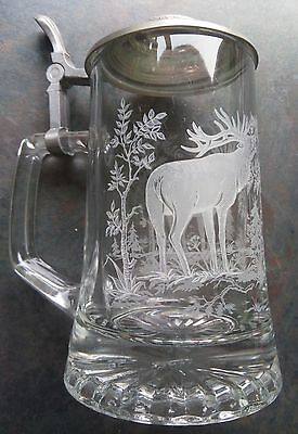 Domex Italy Glass and Pewter Stag Design Tankard