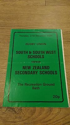 South & South West Schools v New Zealand Schools 1984 Rugby Union Programme