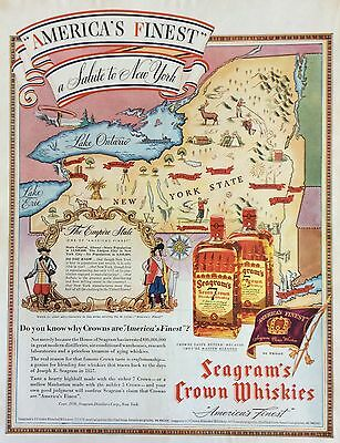 1937 SEAGRAM'S CROWN WHISKEY PRINT AD, a Salute to New York, Empire State Map