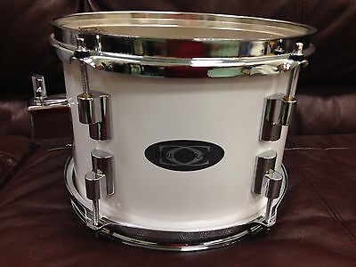 "Drumcraft 10"" Rack Tom Hyper Drive Shallow White Wrap Brand New With Tom Mount"