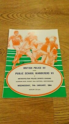 British Police v Public School Wanderers 1984 Rugby Union Programme