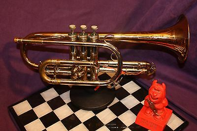 """Amazing Holton 28 Cornet HUGE 0.485"""" Bore,Lacquer, Red & Yellow Brass and Nickel"""