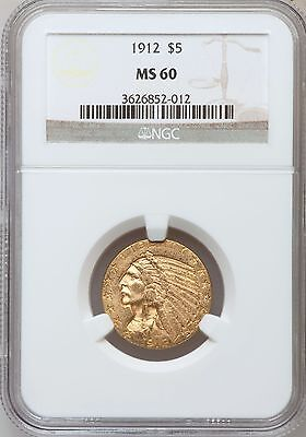 1912  Indian Head Half Eagle $5 Gold Ngc Ms60