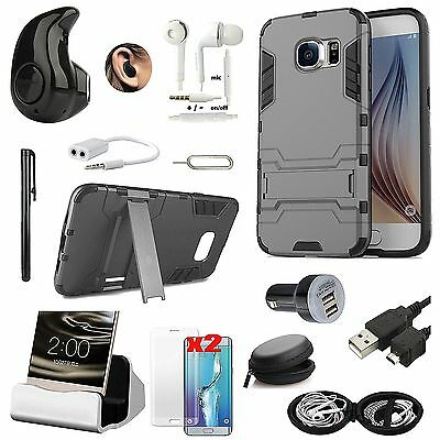 Case Cover+Bluetooth Headset Earphones+Charger Accessory For Samsung Galaxy C7