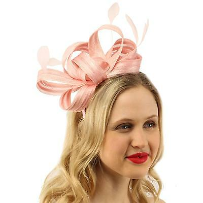 Sinamay Ribbon Feathers Fascinators Headband Millinery Cocktail Derby Hat