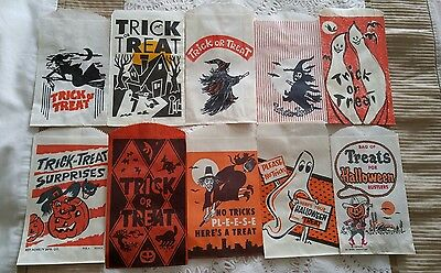 10 Vintage 1950's-60's Halloween Trick or Treat Bags Candy Bags Halloween Sack