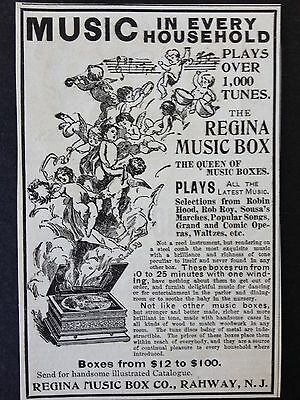 Antique 1896 Ad (1800-5)~Regina Music Box Co. Rahway, Nj.