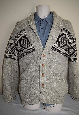 Vtg CAMPUS Ragg wool Nordic Shawl Cardigan sweater Dude Big Lebowski COWICHAN L