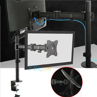 """Single LCD LED Monitor TV Bracket Mount Desk Stand for 13-27"""" Screens Computer"""