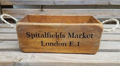 Antique Vintage Style OLD SPITALFIELDS Wooden Boxes Crates With Rope Handles