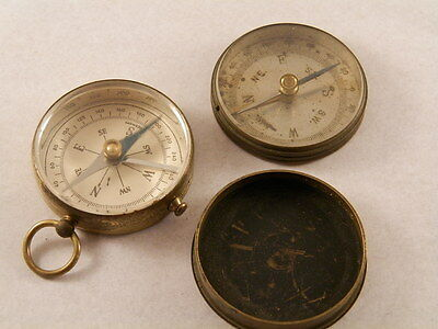 vintage 2 compass lot cover brass working very rare model  protection germany