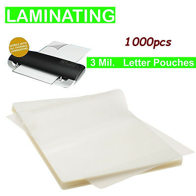 3 mil thick Letter Size Thermal Laminating Pouches 9 x 11.5-Inches 1000-Pack