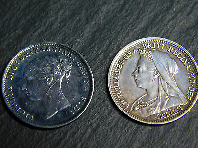 Silver Queen Victoria ThreePence 3d 1899 & Queen Victoria 1883 threepence 3d