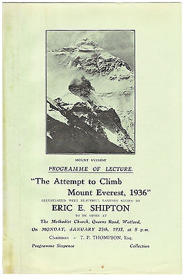 Eric Shipton Lecture Programme 'The Attempt to Climb Mount Everest, 1936'