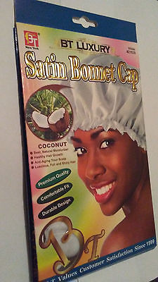 Coconut Oil Treated Luxury Satin Bonnet Cap (White)