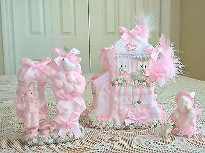 pink shabby cottage bunny Easter chic village house w swing LIGHTS OOAK rabbits