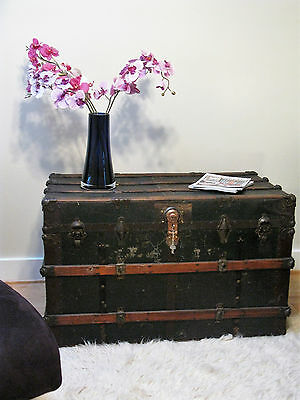 Huge Antique Flat Top Vintage Steamer Trunk