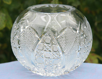 Vintage lead crystal cut glass round vase with star cut base