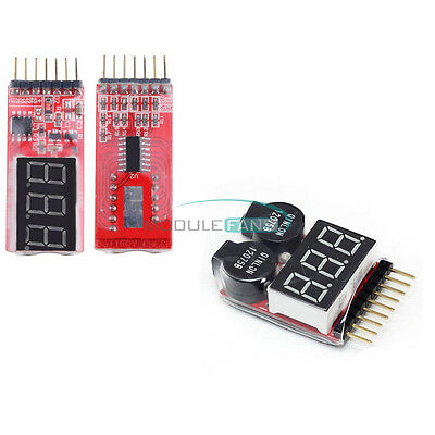 2-6S/1-8S Indicator Lipo Li-ion Battery Voltage Tester Voltage Buzzer Monitor M