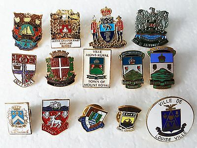 Pin -Pinback -Button -Tie Tack Lot of Canadian Town / City Coat of Arms -Canada