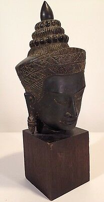 """Antique Khmer Style Bronze 17"""" Buddha Head Statue On Solid Wood Base"""