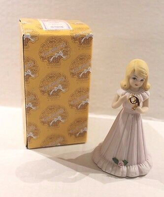 Enesco Growing Up Birthday Girls Blonde Porcelain Figurine Age 9 Girl with Box