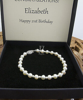 Freshwater Pearl Bracelet with S/Silver Filigree Clasp & Japanese pearl beads.