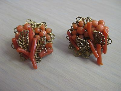 Estate Costume Miriam Haskell Coral Bead Flower Gold Tone Clip Earrings