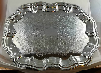 Shelton Ware Chrome Plated Rectangle Serving Platter Tray Etched + Ornate Design