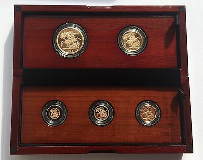 2016 Royal Mint NEW PORTRAIT 5 Coin Gold Proof Sovereign Set £5 Down RARE!