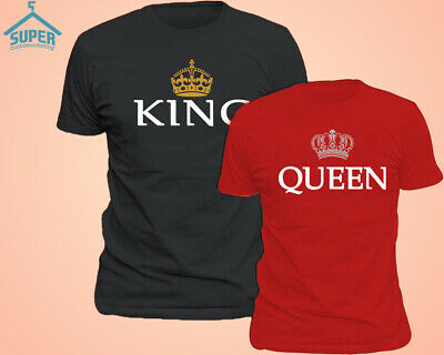 King Queen Couple TSHIRT Cartoon Funny Couple Tee Shirt Couple T-Shirt BLACK-RED