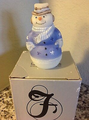 Fenton Glass Snowman White Handpainted & Signed 5268DB