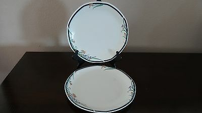 Royal Doulton Octagonal Juno Dinner Plates x 2 Floral with Blue & Green Band