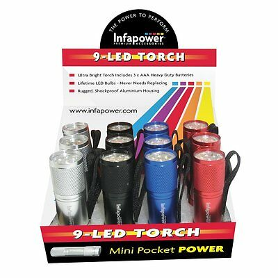 Infapower 9-LED Mini Small Rugged Pocket Power Shockproof Torch F006 -Pack of 12
