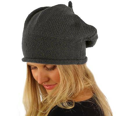 Winter Warm Tight Knit Stretchy French Basque Beret Slouch Beanie Hat Cap Gray
