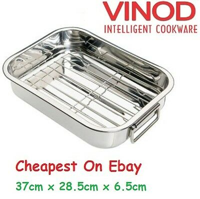Deep Stainless Steel Roasting Pan With Grill Rack Tray Baking Roaster Tin 37Cm