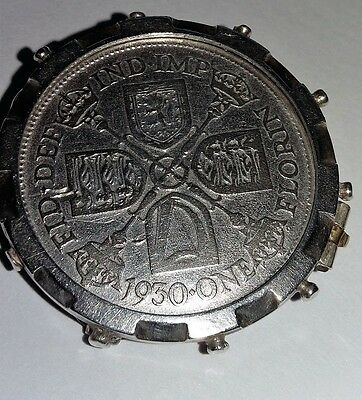 George V Coin Brooch 1930 Silver Mount
