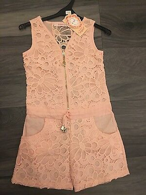 girls pink jumpsuit shorts zip up age 12 new