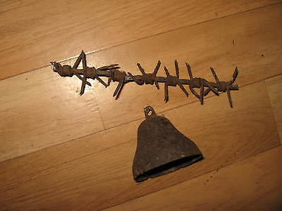 ww1 batlefield relic ENEMY ALARM BELL, RARE with barbed wire