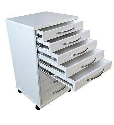 Mobile Portable Dental Doctors Cabinets Carts White.8 Drawers w/Wheels