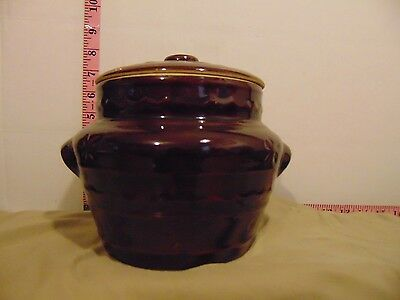 Marcrest Ovenproof Stoneware Lidded Bean Crock Two Handled