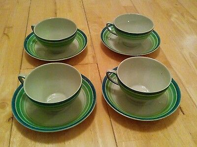 Greys susie cooper green banded cups and saucers