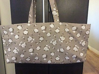 knitting bag,19 x 9 inch,beige & white floral,plain grey Lining