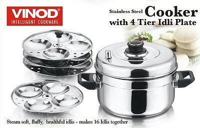 VINOD Idli Cooker Stainless Steel 4 Plates Stand 16 Idly Cooking Appliance