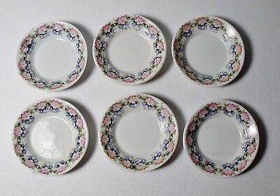 Set of 6 Antique Porcelain BUTTER PATS Pink & Blue Flowers