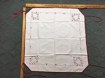 "Antique Hand Embroidered ""Card"" Table Cloth w/ Corner Tie Downs"