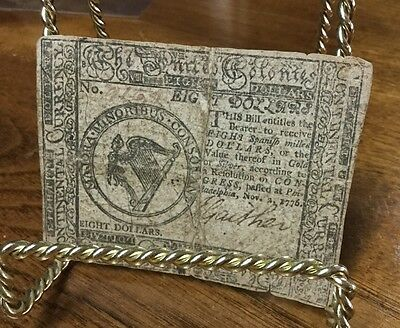 United Colonies $8 Eight Dollars 1776 Continental Currency Signed Gaither