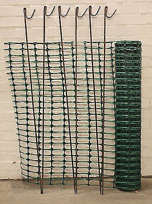 Green Barrier Mesh 1m x 50m Fence Lightweight Temporary Netted Fencing with 10 -